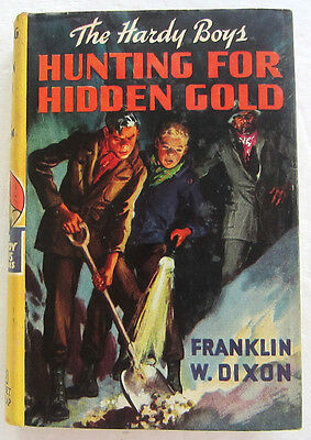 Hardy Boys #5 HUNTING FOR HIDDEN GOLD Franklin W Dixon Yellow Spine Dust Jacket