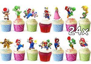 Super-Mario-brothers-Essbar-Tortenbild-NEU-Party-Deko-Muffinaufleger-Spiel-wii