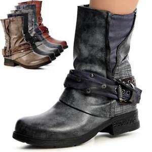 Damen-Stiefeletten-Biker-Worker-Boots-Nieten-Kurz-Stiefel-Riemen-Waden