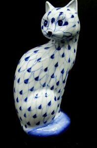 """VTG Andrea Sadek Cat Figurine Hand Painted Porcelain Blue White Fishnet 7 1/2"""""""