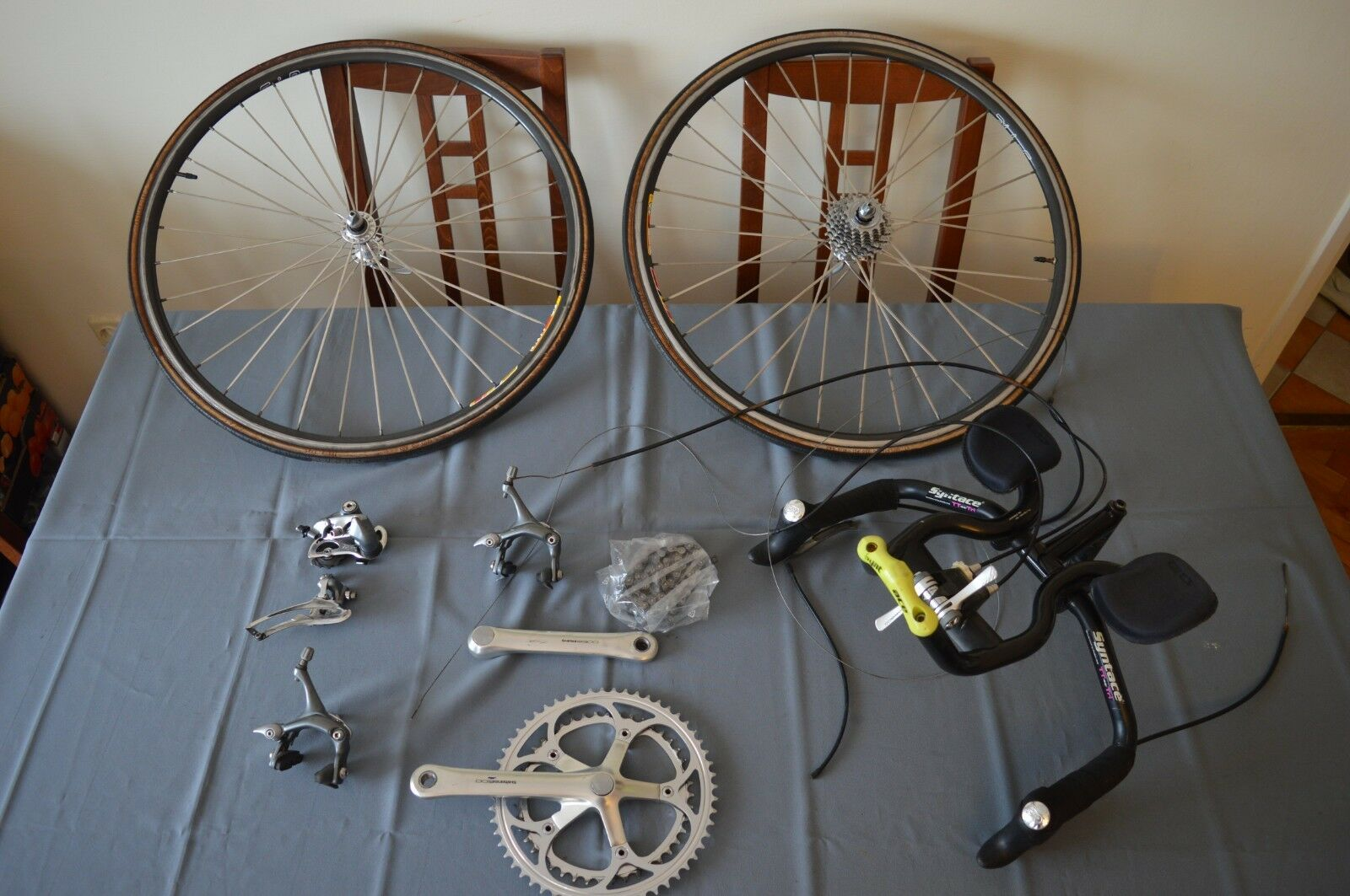Vintage Shimano  600 tricolor groupset group with 650c wheelset (triathlon)  sales online