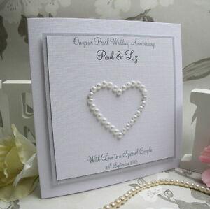 Large handmade personalised 30th pearl wedding anniversary card 28 large handmade personalised thecheapjerseys Choice Image