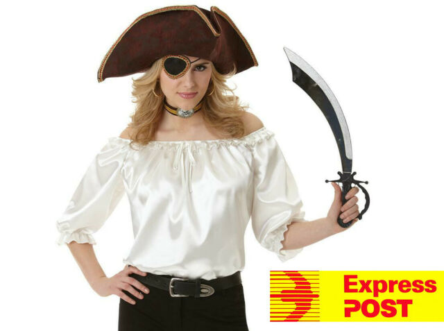 Pirate Ivory Blouse Woman Costume M/L Women Top Express shipping