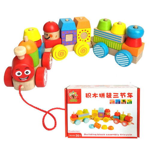 Details about  /Wooden Blocks Colorful Assembling Train Baby Early Educational Learning Toys