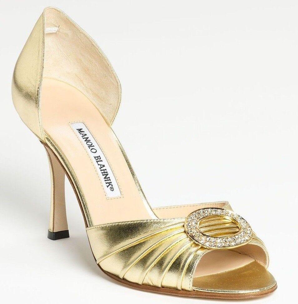 785 NEW Manolo Blahnik SEDARABY gold Nappa JEWELED Dorsay shoes Wedding 41.5