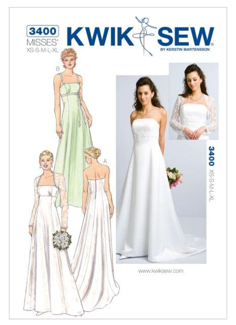Kwik Sew 3400 Wedding Bridal Bridesmaid Dress Sewing Pattern Gown ...