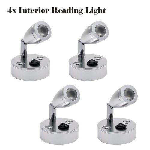 4Pcs 12V LED Spot Reading Lights Switch Camper Van Caravan Boat Interior Lights