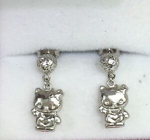 18k Solid White Gold Hello Kitty Dangle Stud Earrings Diamond Cut1