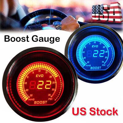 2/'/' 52MM TURBO BOOST VACUUM CAR AUTO DIGITAL LED METER GAUGE TINT LENS BLUE RED