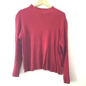 Coldwater-Creek-Women-039-s-Shirt-1X-Long-Sleeve-Red-100-Cotton