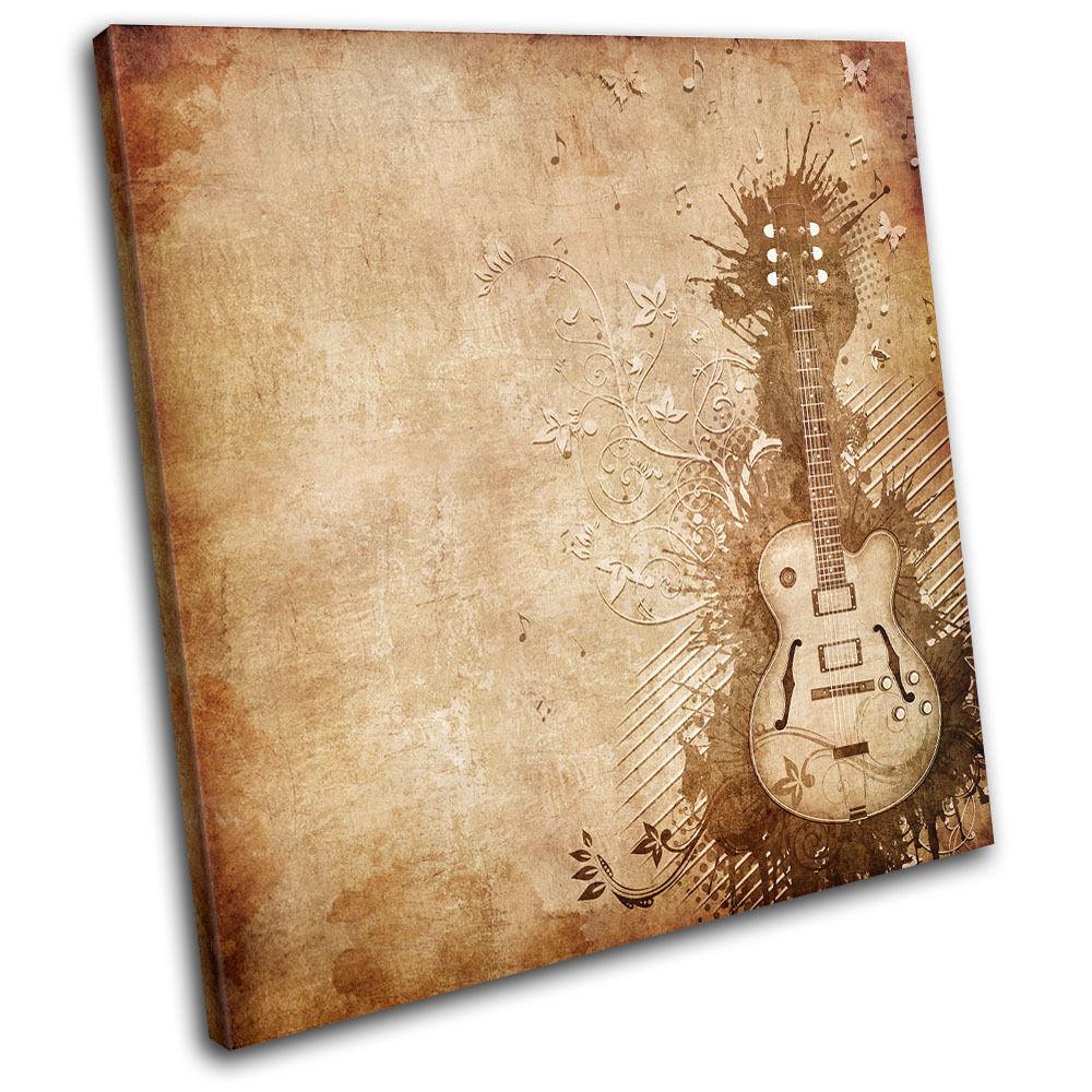 Guitar grunge marron Musical SINGLE TOILE murale ART Photo Print