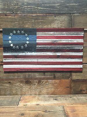 Vintage American Flag Hand Painted Refurbished Wood 13 Star Colonies 27''X48''