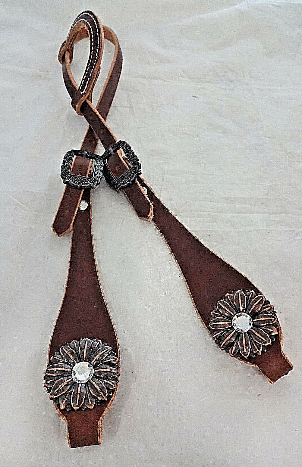 Harness Leather One Ear Headstall Horse Rich  Brown Copper Flower Crystal Conchos  sale