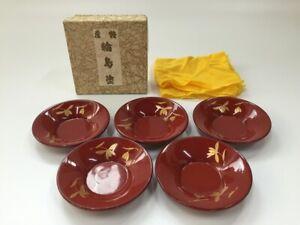 Japanese-Wooden-Tea-Coaster-Chataku-Vintage-5pc-Wajima-Lacquer-Ware-Makie-Z122