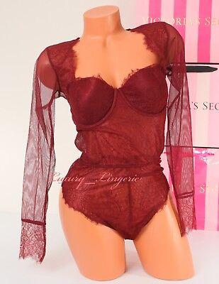 VS VICTORIA/'S SECRET Chantilly Lace High-neck Teddy Garter Lingerie Bodysuit 36D