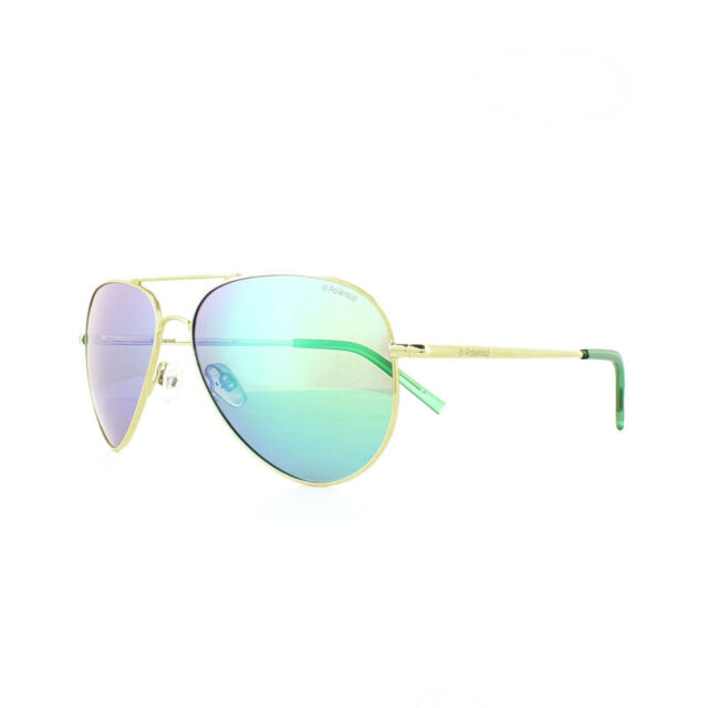 Polaroid Kids Metal Aviator Sunglasses in Gold Green Blue Mirror Polarised PLD 8015//N J5G 52 K7