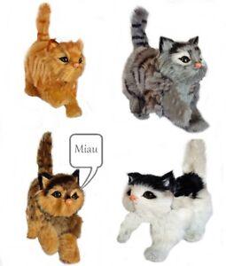 Peluche Katze Avec Voix / Fausse Fourrure 13 X 6 X 10 Cm Animal En Miau Fonction