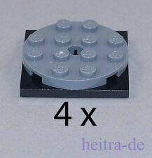 LEGO - 4 x Drehscheibe flach 4x4 dunkelgrau - schwarz / 60474 61485 NEUWARE