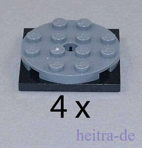 LEGO-4-x-Drehscheibe-flach-4x4-dunkelgrau-schwarz-60474-61485-NEUWARE