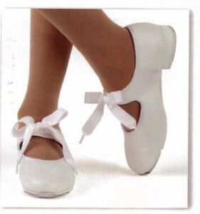 New-box-Tap-Shoes-3505-ladies-sizes-Tapettes-Mary-Janes-Dance-Ribbon-tie-WHITE