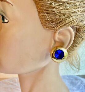 Boucle d'oreilles a clip MÉTAL Doré sertie d'un strass bleu/violet VINTAGE N°810