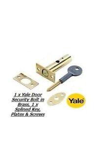 1 X Yale Sécurité Porte Boulon, Rack Bolt Finition Laiton Avec 1 X Cannelé Clé-neuf-afficher Le Titre D'origine