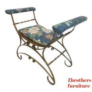 Vintage-French-Regency-Wrought-Iron-U-Bench-Foot-Stool-Vanity-Seat