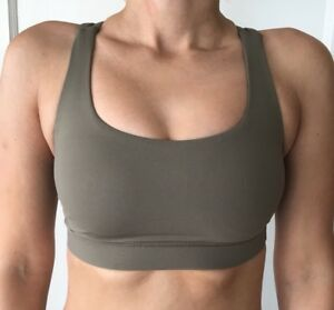 61f02322dcb47 Details about Lululemon Size 2 Energy Bra Green HLND Sports Top Run Yoga  Cross TaTa NWT B C