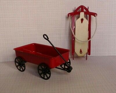 Miniature Dollhouse  Scale Red Steel Wagon 1:24 Scale New