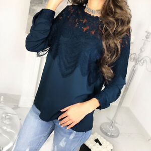 6111449d5c1c Womens Sexy Long Sleeve Lace Hollow Out T-Shirt Button Loose Tee ...