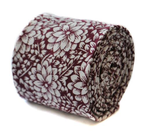 Burgundy Maroon Frederick Thomas Designer Cotton Mens Tie Flower Floral