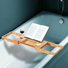Bathtub Caddy Shelf Bath Tub Holder Bathroom Tray Wine Book Rack Stand