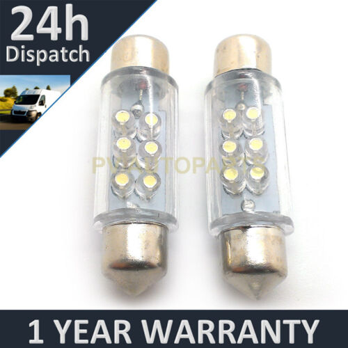 2X WHITE NUMBER PLATE INTERIOR LIGHT DOME LED BULBS 30 36 39 42 44MM FESTOON OA