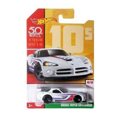 Hot Wheels 2018 Dodge Viper SRT10 ACR 50th Anniversary Throwbacks Series 2 White 10//10 Long Card by Mattel