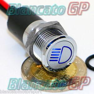 SPIA-LED-14mm-CON-SIMBOLO-ABBAGLIANTI-metallo-12V-high-beam-indicator-light-BLU