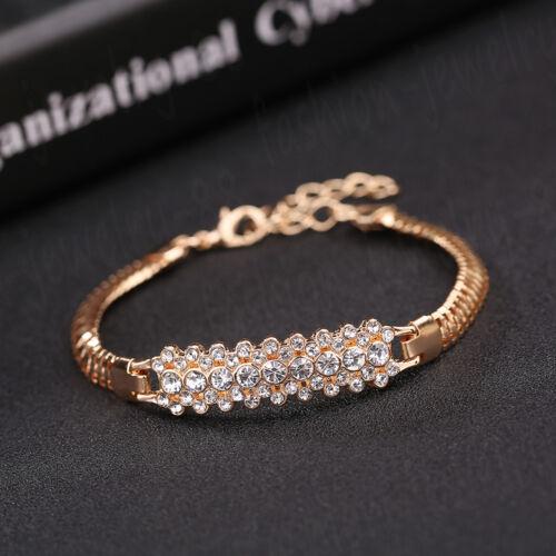 Fashion Women/'s Vintage Cristal Plaqué Or Bracelet Punk Cuff Bracelet Bijoux
