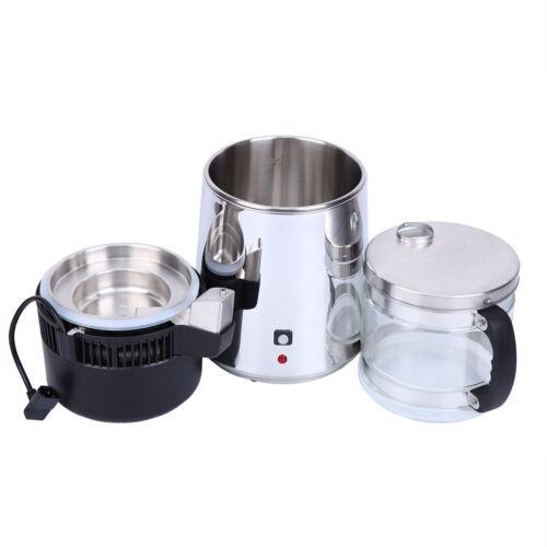 4L Pure Water Distiller Purifier 304 Stainless Steel Internal Dental w//Glass Jar