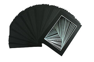 Set-of-50-5x7-Black-Picture-Mats-Mattes-with-WhiteCore-BevelCut-for-4x6-Photo
