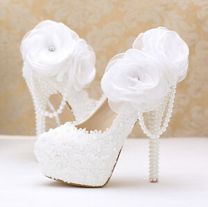 Image is loading Women-Cute-Wedding-Shoes-White-Wedding-Lace-Diamond- 6bef2067d