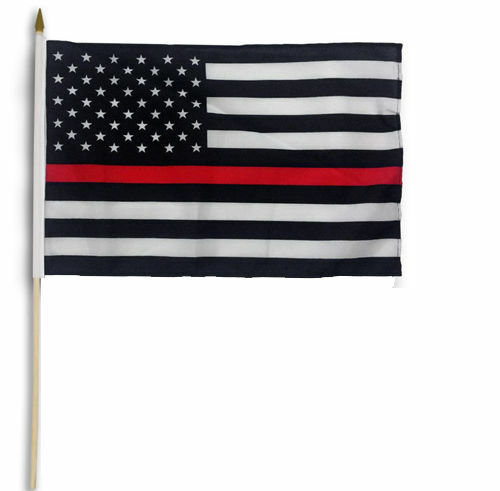 "12 Pack 12x18 12/""x18/"" USA Thin Red Line Fire Dept Memorial Stick Flag wood Staff"