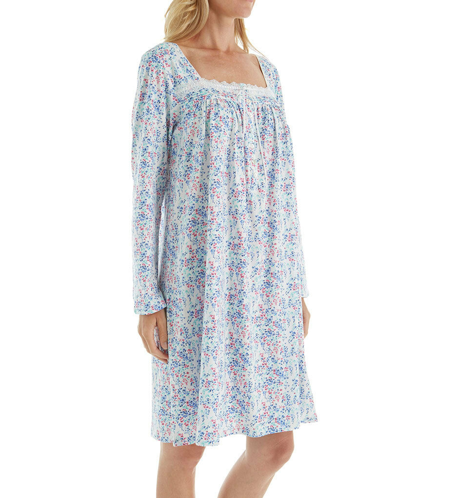 Eileen West  Womens Floral Long Sleeve Jersey Short Nightgown Multicolor Size XS