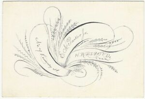 Victorian-Hartford-Connecticut-Spencerian-Calligraphy-Calling-Card-American