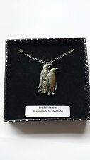 B43 Penguins english pewter 3D Platinum Necklace Handmade 18 INCH