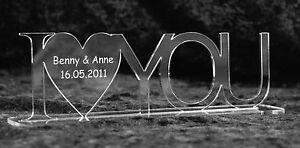 Acrylaufsteller I LOVE YOU - mit Wunschgravur - ideal zum Valentinstag