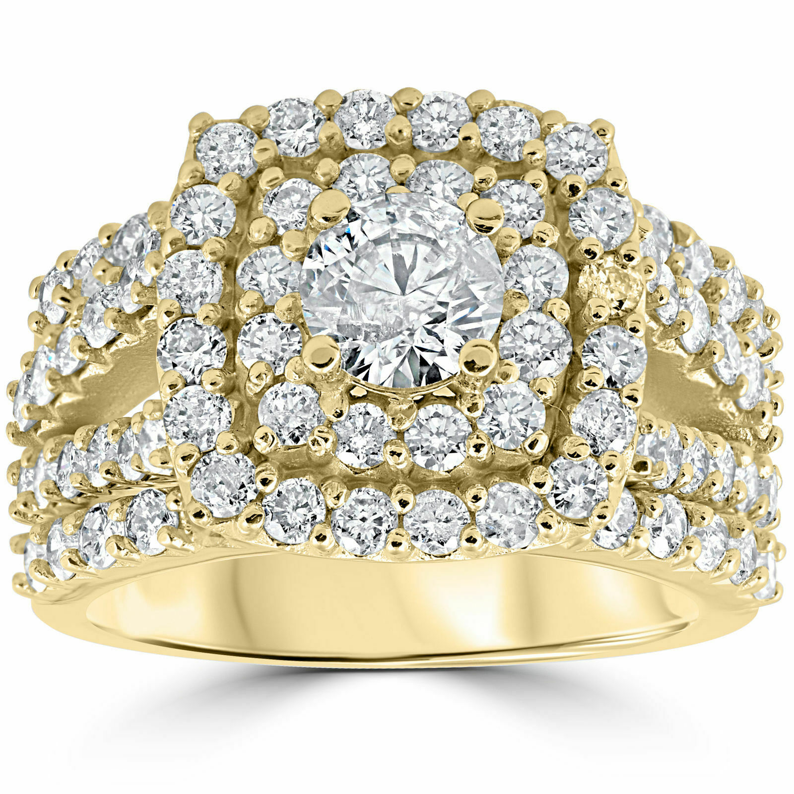 Real 10k Yellow gold Cushion Cut Diamond engagement wedding ring set