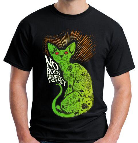 Velocitee Mens Nobody Perfect T Shirt Evil Tattoo Cat Pussy Rave Festival V82
