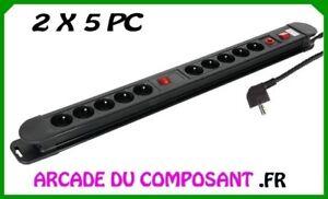 BLOC MULTIPRISES 10 PC - 2X5 PC AVEC 2 INTERS (16-2014) poids 1,30Kg