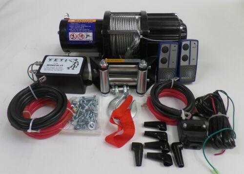 4000lb ELECTRIC TRAILER 12v ATV WINCH  2 x WIRELESS REM 12v self recovery 4x4