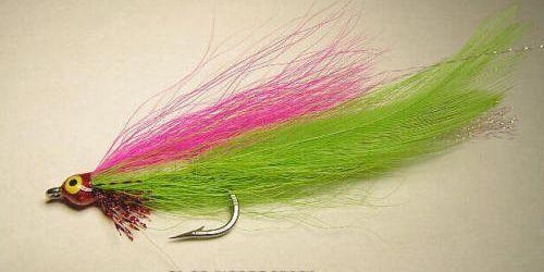 Lefty/'s Deceiver Pink//Chartreuse 1//0  saltwater flies