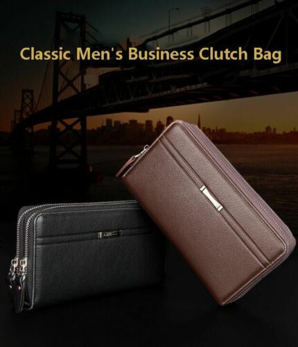 Men/'s Leather Business Clutch High Capacity Wallet Double Zipper Long Purse New